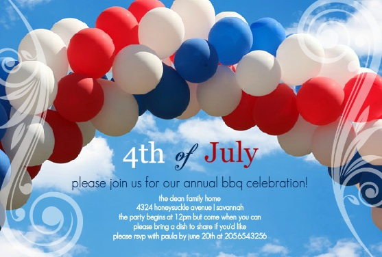 Balloon Arch July 4th Party Invitations
