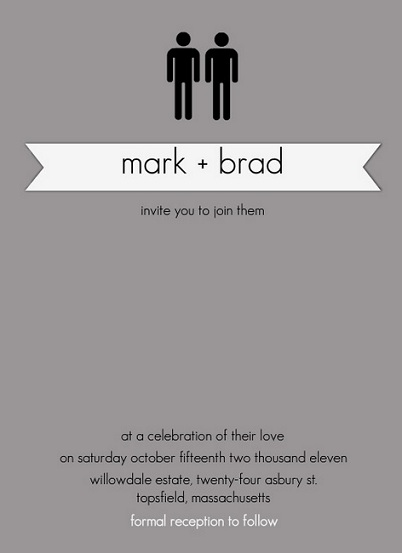 Same Sex Wedding Invitations Celebrating Marriage Equality Act