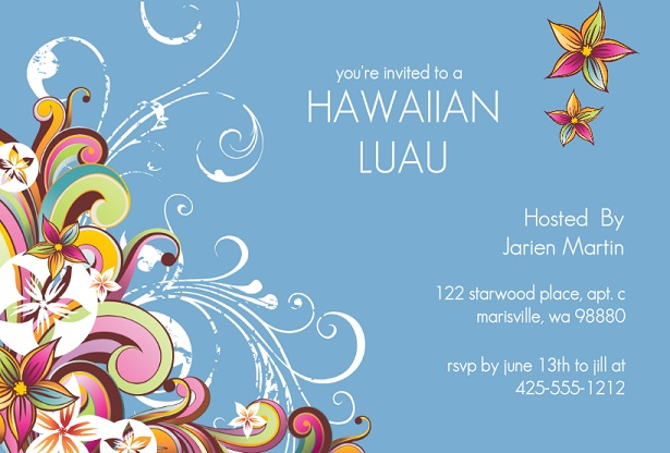 Luau Party Invitations From PurpleTrail – Hawaiian Theme Party Invitations