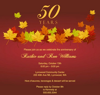 Anniversary party invitations from purpletrail fall leaves 50th anniversary party invitation stopboris Gallery