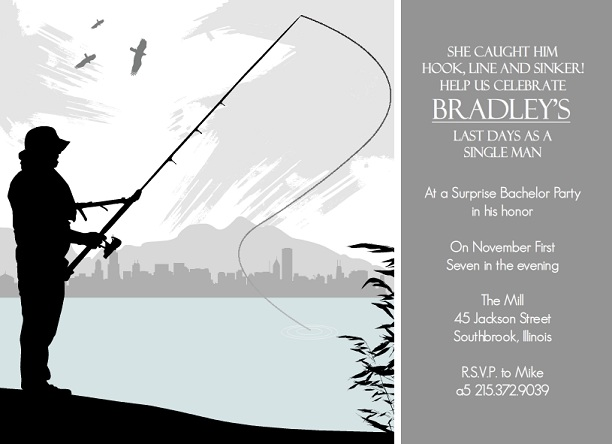 Bachelor Party Invites Outdoor Themed – Fishing Party Invitations
