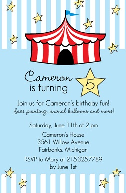 Kids birthday party invitations from purpletrail bright red circus tent blue kids birthday party invitation stopboris Choice Image
