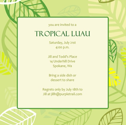 Luau Party Invitations From PurpleTrail – Dessert Party Invitations