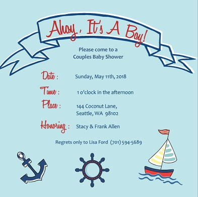 blue sailing themed boy baby shower invitation