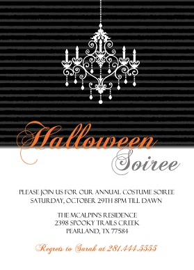 Fancy Black and White Halloween Party Invitation