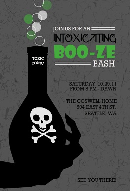 Halloween party invitations from purpletrail toxic potion adult halloween party invitation stopboris Images