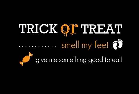 Black and Orange Trick or Treat Halloween Party Invite