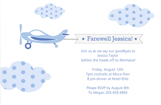 blue airplane and clouds farewell party invitation