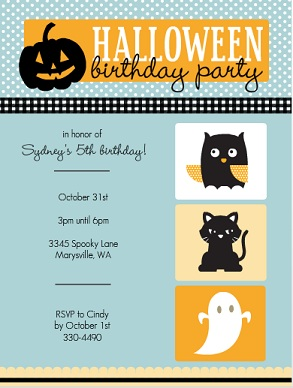 October First Birthday Invitations From PurpleTrail Halloween Themes - Halloween birthday invitations party