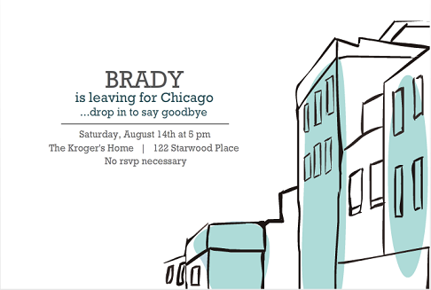 leaving for the city blue buildings going away party invitation - Goodbye Party Invitation