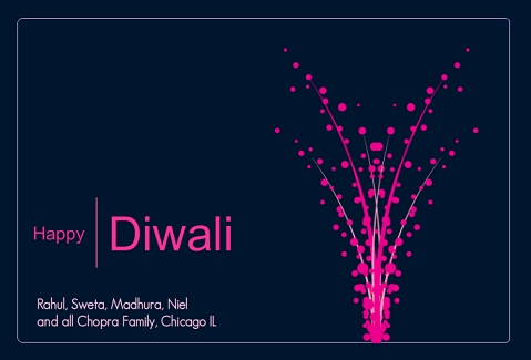 Pink and Blue Bright Lights Modern Diwali Greeting Card