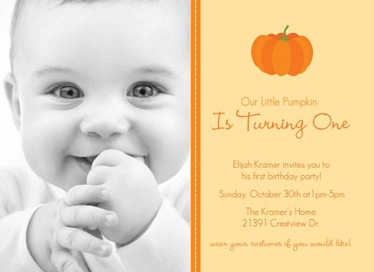 our little pumpkin orange halloween fall autumn first birthday invitation