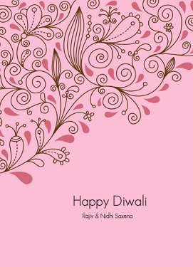 Pink Floral Diwali Festival Greeting Card