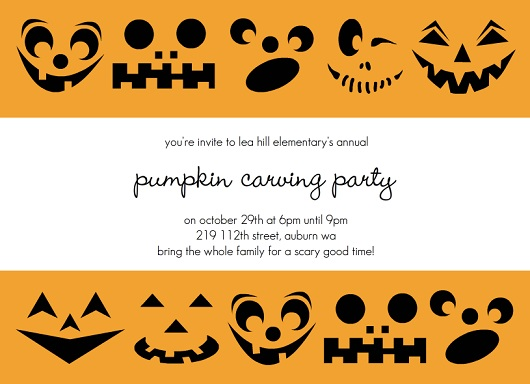 Party Invitations for Autumn Holidays From PurpleTrail – Pumpkin Party Invitations