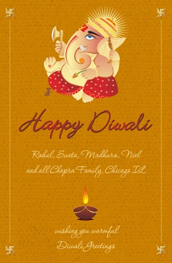 Traditional Golden Ganesha Diwali Festival Card