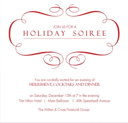 Corporate Holiday Invitation for Parties from PurpleTrail – Business Holiday Party Invitations