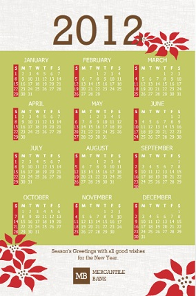 Corporate holiday cards from purpletrail green and red poinsettia business calendar holiday card reheart Choice Image