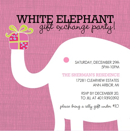 Holiday Party Invitations from PurpleTrail Themed Creative – Elephant Party Invitations