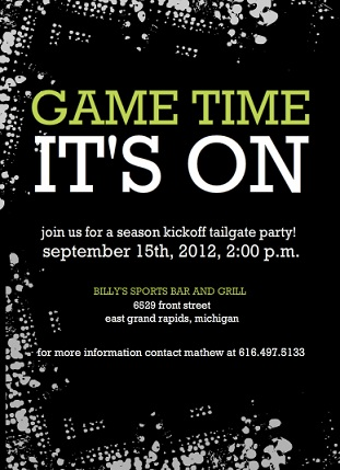 black tailgate party football invitation