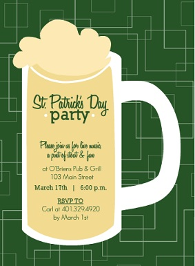 Irish Party Themed Cards and Invitations for St Patricks Day