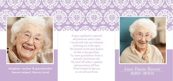 Memorial Cards from Purple Trail - Simple, Elegant, Personal