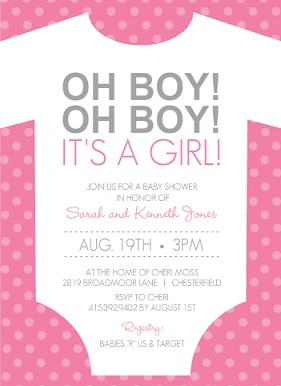 Girl baby shower invitations from purpletrail its a girl pink and white onesie set girl baby shower filmwisefo