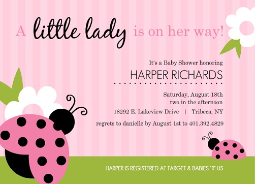 Girl baby shower invitations from purpletrail pink and green lady bug set girl baby shower invitations filmwisefo