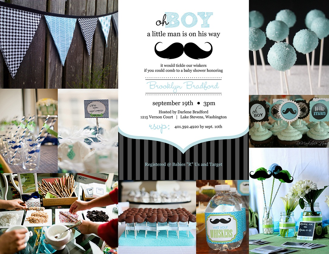 moustache baby boy shower