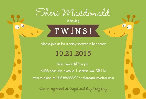 Green Giraffe Twin Baby Shower Invitation