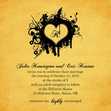 Halloween Wedding Invitations from PurpleTrail