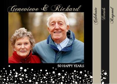 Sparkling Gold and Black 50th Anniversary Invitation
