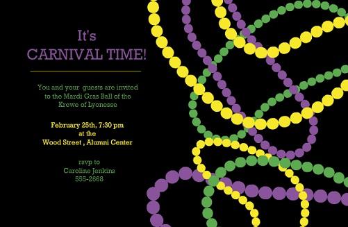 Mardi Gras Beads Invite