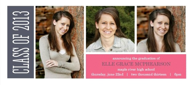 Custom Graduation Announcement Blue and Pink Stripes