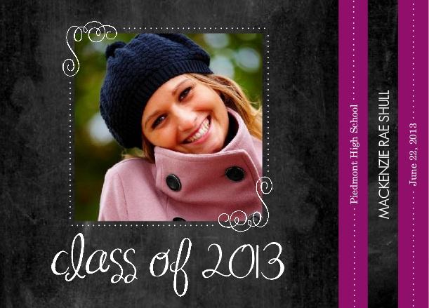 Custom Graduation Announcement Purple Chalkboard